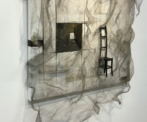 Rest • Left Angle • Mixed Media on Canvas Acrylic, Concrete, Tar, Ink, Doll Chair, Knitted Steel Mesh 36 inches x 36 inches x 1.5 inches (91.5 cm x 91.5 cm x 4 cm)[plus chair & Mesh]