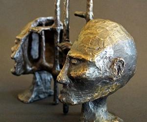 Cognitive Architecture • Bronze (Two Piece Sculpture), 10 x 6.5 x 4 (25.4 x 16.51 x 10.16 cm) (Variable width)
