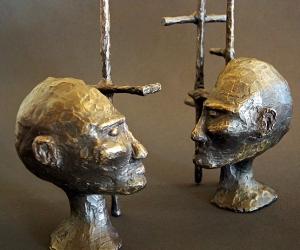 Cognitive Architecture #2 • Bronze (Two Piece Sculpture), 10 x 6.5 x 4 (25.4 x 16.51 x 10.16 cm) (Variable width)