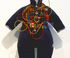 Blue Boy, Infant Suicide Bomber Vest Model #2010-2011TG • Mixed Media, R.A.M.S.E.S. Recycled-Assembled-Miscellaneous-Surplus-Engineered-Scrap, 24 X 18 x 12 inches (60.96 x 45.72 x 30.48 cm)