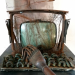 Terminal (Detail), 1992, Mixed Media with TV Screen - R.A.M.S.E.S Recycled-Assembled-Metal-Surplus-Engineered-Scrap 83 x 28 x 43 inches (210.82 x 71.12 x 109.22 cm)
