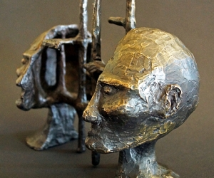 Cognitive Architecture • Bronze (Two Piece Sculpture), 10 x 6.5 x 4 (25.4 x 16.51 x 10.16 cm) (Variable width)