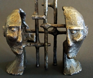 Cognitive Architecture #2 • Bronze (Two Piece Sculpture), 10 x 6.5 x 4 (25.4 x 16.51 x 10.16 cm) (Variable width)