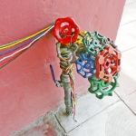 Confound • Installation, Faucet Valves with Painted Strings